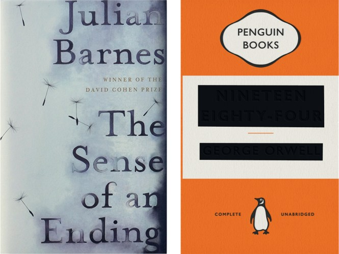 book covers for These Sense of an Ending and 1984