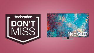 Samsung QN85A 4K Neo QLED TV on pink background