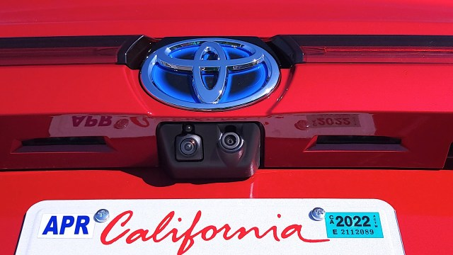 Close-up of two back-up cams on Toyota Mirai (2021)