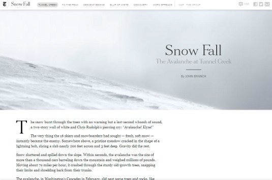 Example of parallax scrolling websites: Snow Fall
