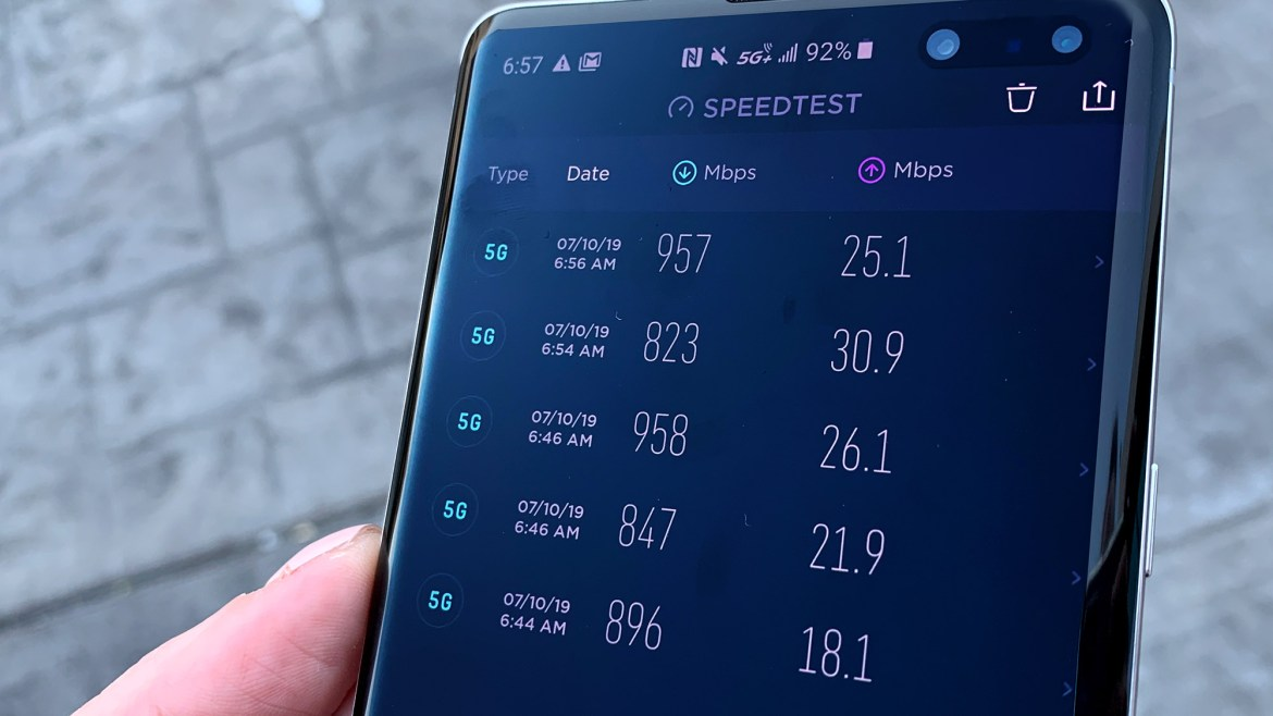 We saw download speeds close 1 Gbps on AT&T's 5G+ network in Las Vegas.