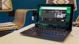 Online video editor on a laptop