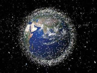 An illustration depicting the cluttered space debris around the Earth.