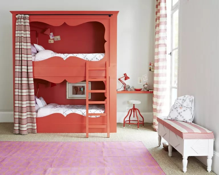 Kids room paint ideas with white walls, cadmium red painted bunk bed and red furnishings