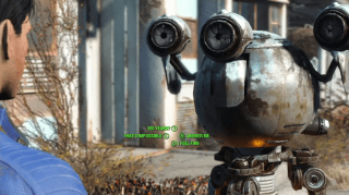Robot companion with list of dialogue options (Fallout 4)