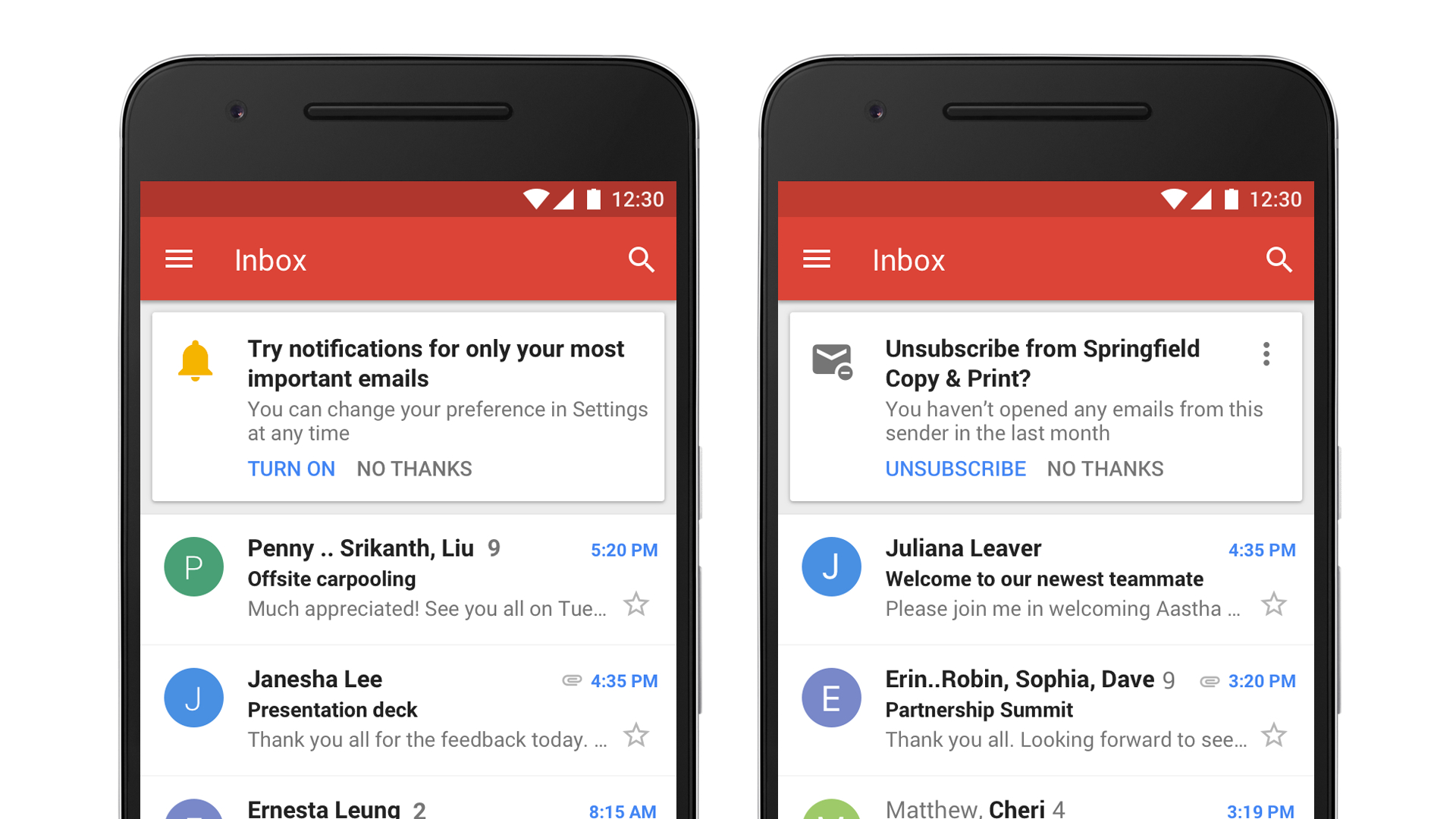Gmail priority and unsubscribe