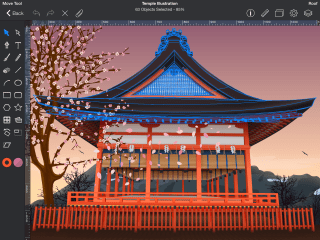 Drawing apps for iPad: Drawing of a Japanese-style building on an iPad screen