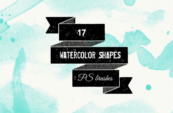 Watercolour shapes and splatters Photoshop brushes