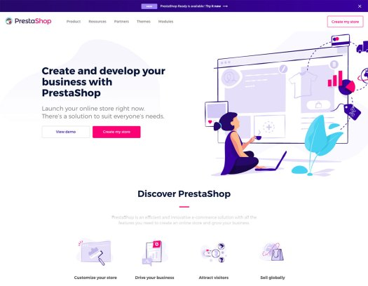 Choose a website builder: PrestaShop