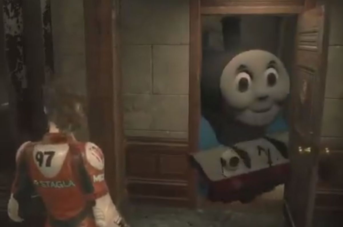 Resident Evil 2 Mod Turns Mr X Into Thomas The Tank Engine Pc Gamer