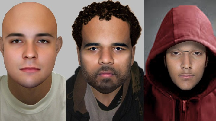 modern e-fit images of three men