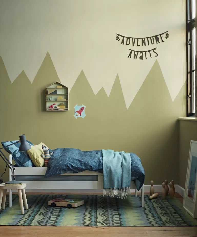 Kids room paint ideas with two-color mural resembling a mountain range, painted in shades of pale brown-green