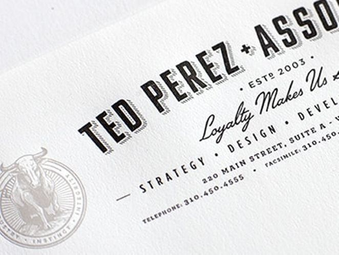 Ted Perez + Associates typographic letterhead with bull logo