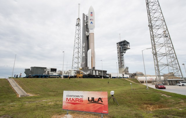 The United Launch Alliance Atlas V rocket carrying NASA's Mars 2020 Perseverance rover rolls out to its Space Launch Complex 41 launch pad at Cape Canaveral Air Force Station, Florida on July 28, 2020.