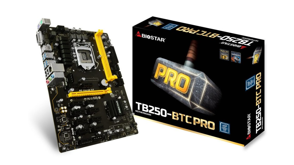best mining motherboards: Biostar TB250-BTC Pro