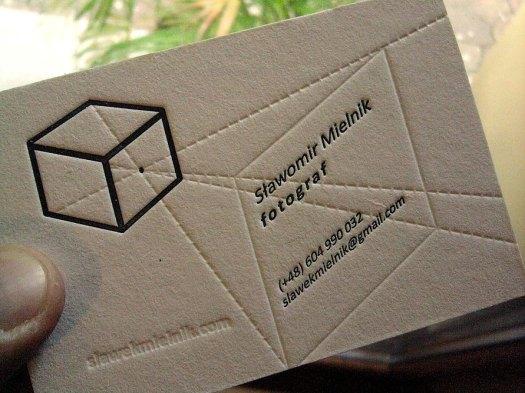 Stawomir Mielnik photography letterpress business card