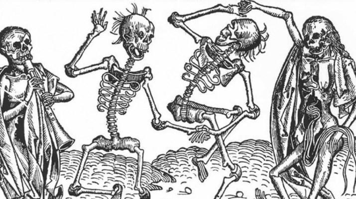 image of dancing skeletons representing death