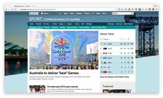 Screenshot of BBC Sport website