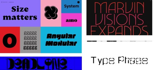 Selection of variable fonts
