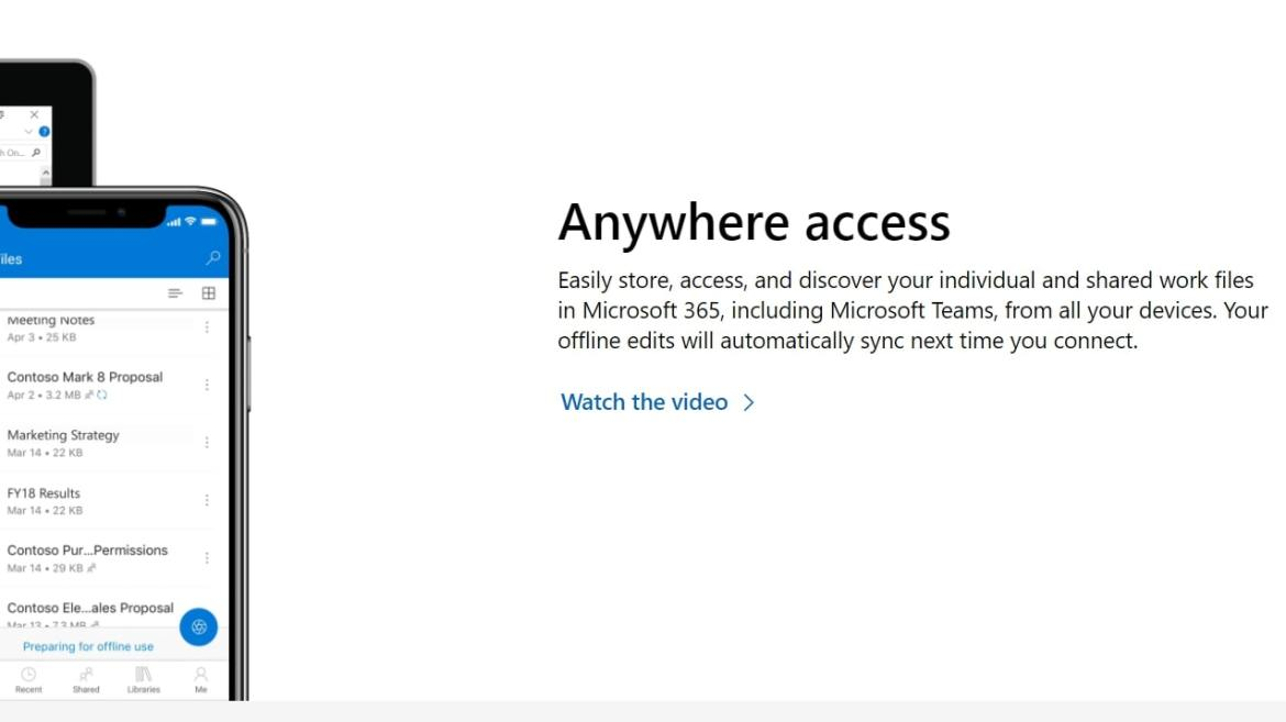 Microsoft OneDrive webpage discussing shared cloud working