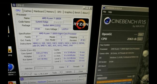 Sebuah screenshot yang memperlihatkan benchmark dari Ryzen 7 generasi terbaru
