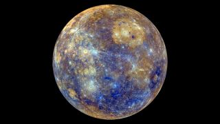 A colorful view of Mercury produced from images taken by the MESSENGER spacecraft.