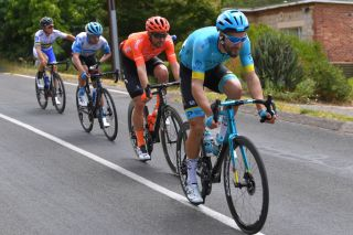 Laurens De Vreese leads the break at the Tour Down Under