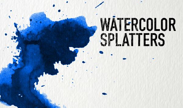 Watercolour splatters Photoshop brushes
