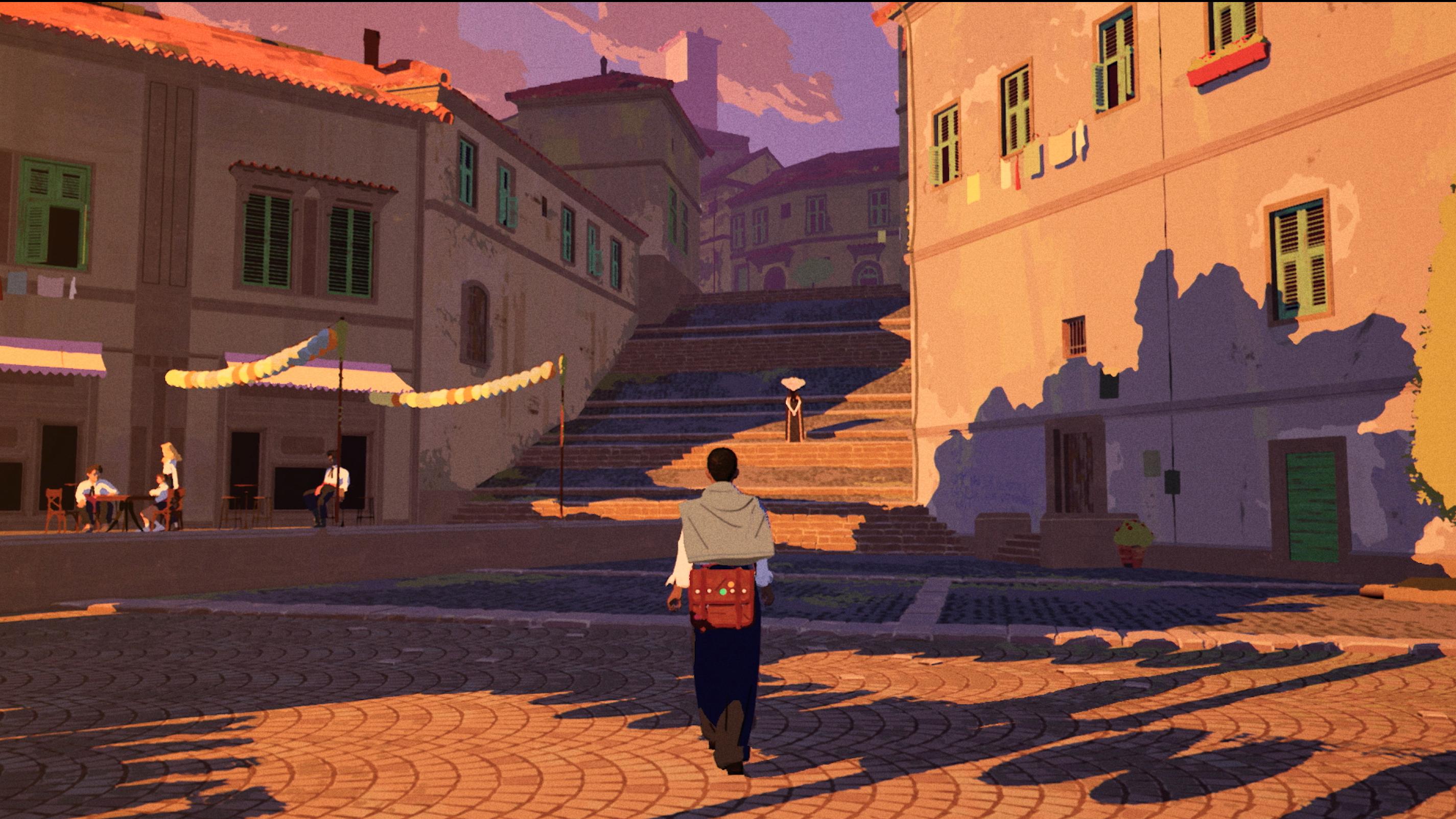 A boy walking through a town square in the game Season