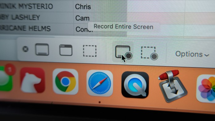 how to record screen on a mac - select Record Entire Screen