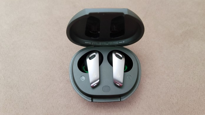 The Edifier NeoBuds Pro earbuds in its charging case