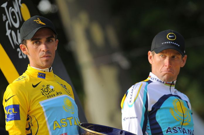 Alberto Contador and Lance Armstrong on the podium of the Tour de France 2009 in Paris