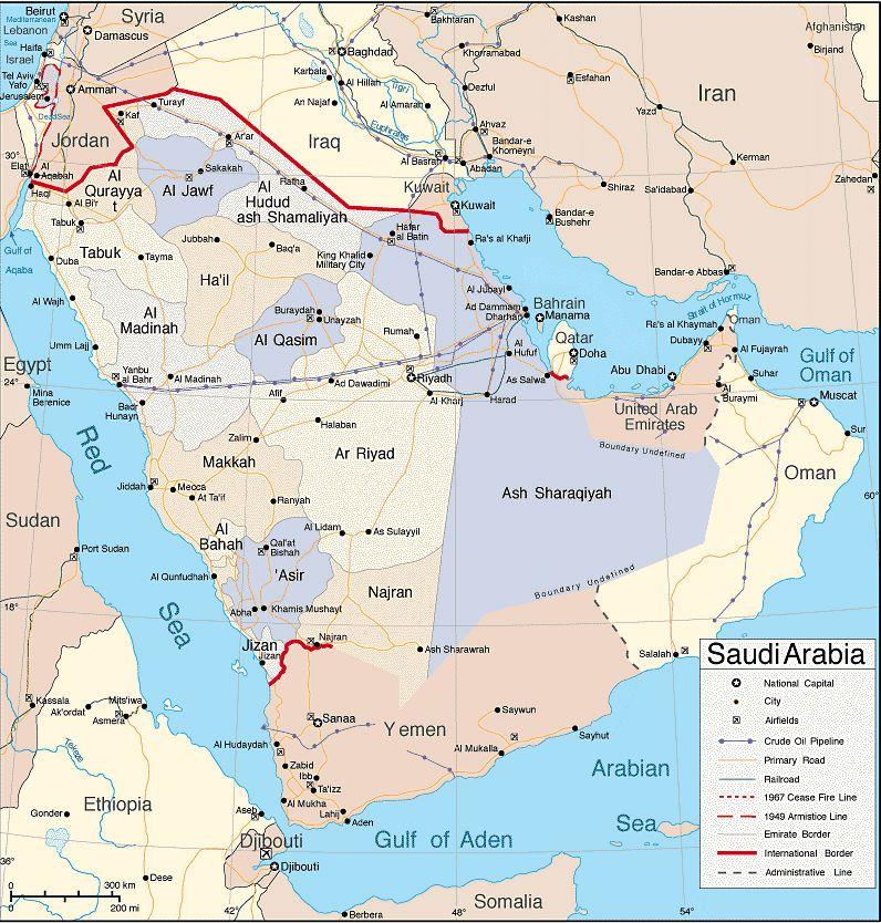 خريطة المملكة العربية السعودية وحدودها موسوعة