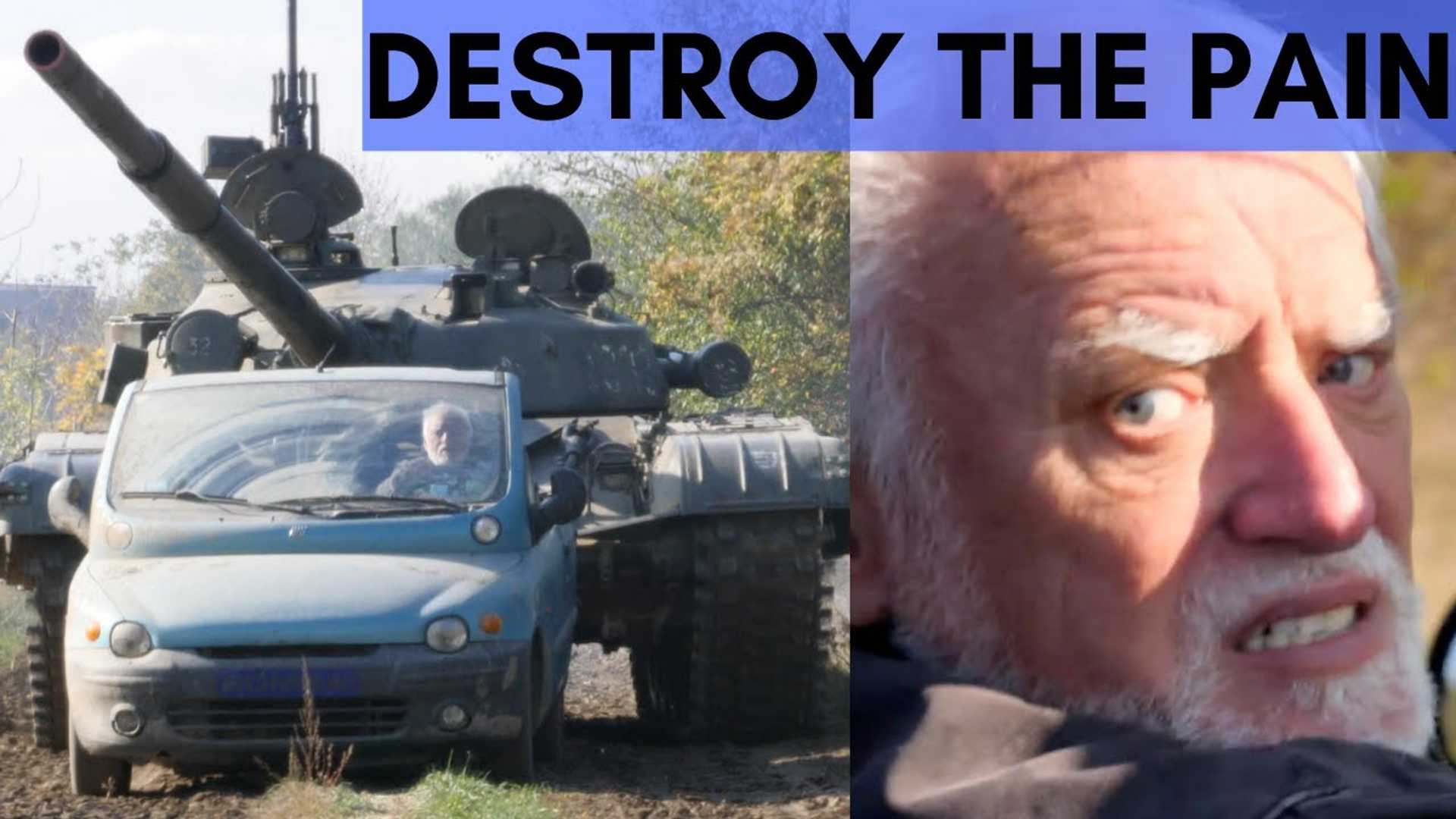 Watch A Tank Chase Roofless Fiat Multipla And Run Over It
