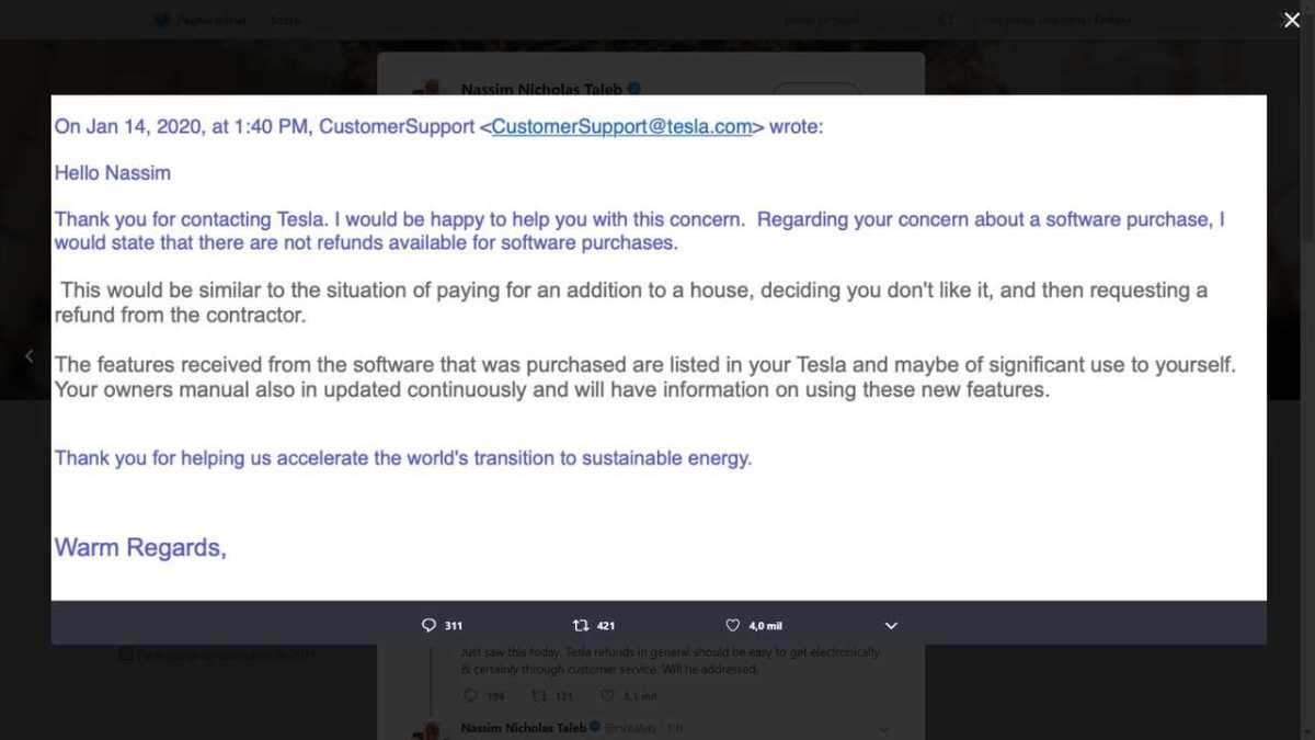 Nassim Taleb criticizes Tesla customer service On Twitter, Elon Musk responds
