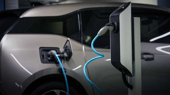 BMW i3 electric car at charging station
