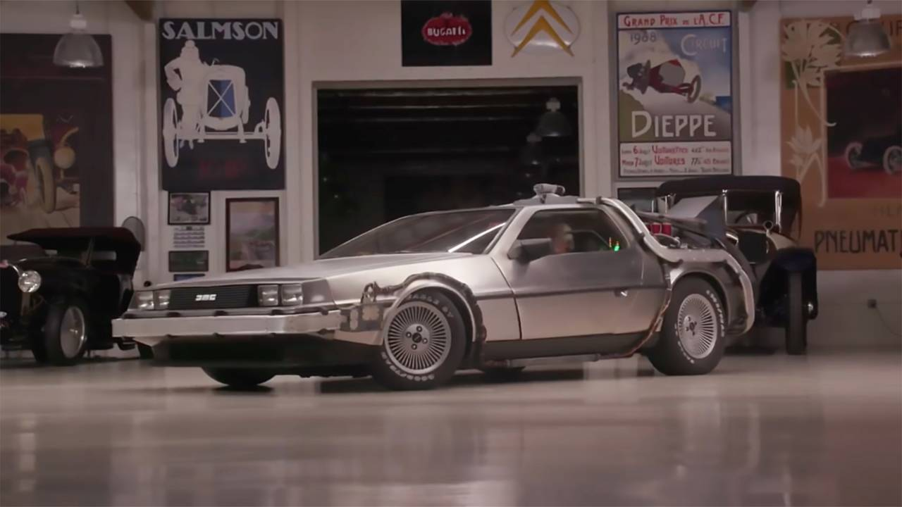 Jay Leno Drives Doc Brown S Delorean From Back To The Future