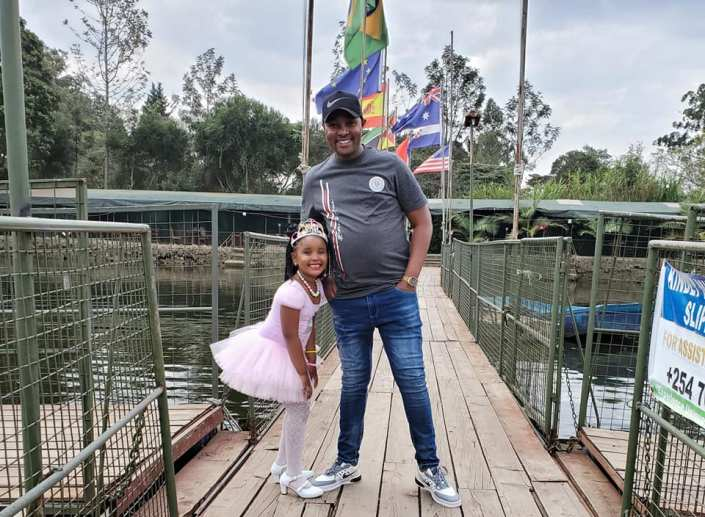 Mwanaumw kamili! Comedian Kiengei's two wives unite to celebrates daughter's birthday (Photos)