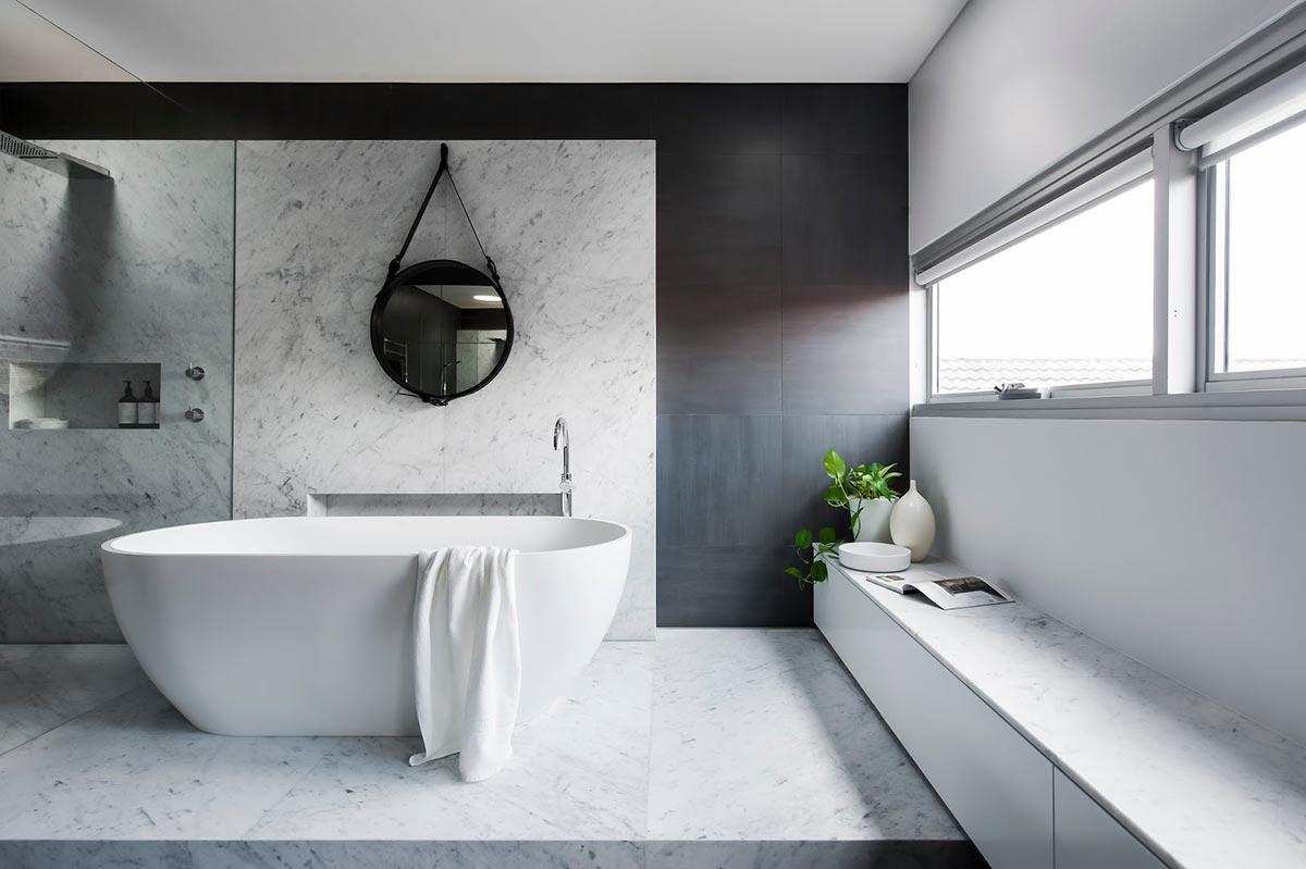 Award Winning Monochromatic Bathroom By Minosa Design