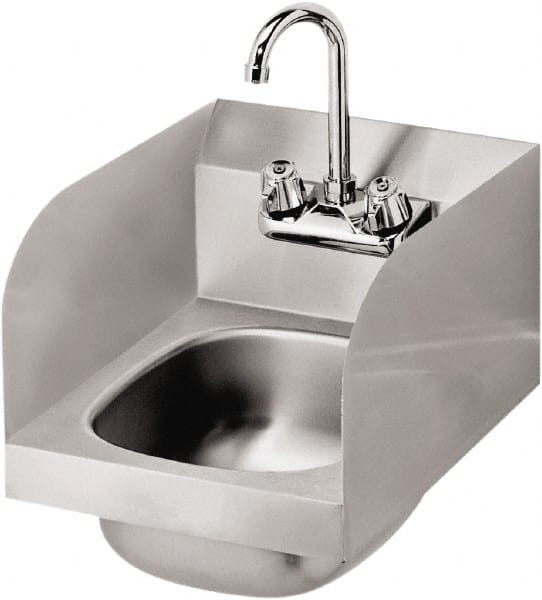 krowne 14 long x 10 wide inside 1 compartment grade 304 stainless steel hand sink with side support 52904547 msc industrial supply