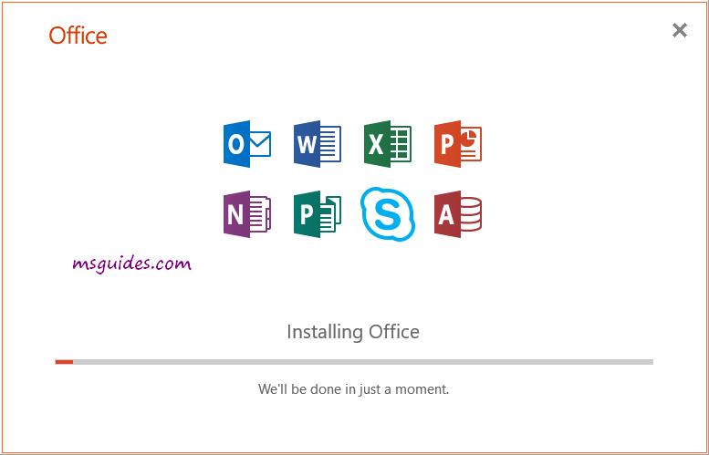 office 2019 installation progress