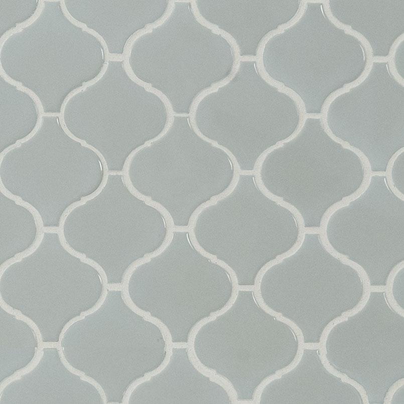 gray glossy arabesque mosaic tile