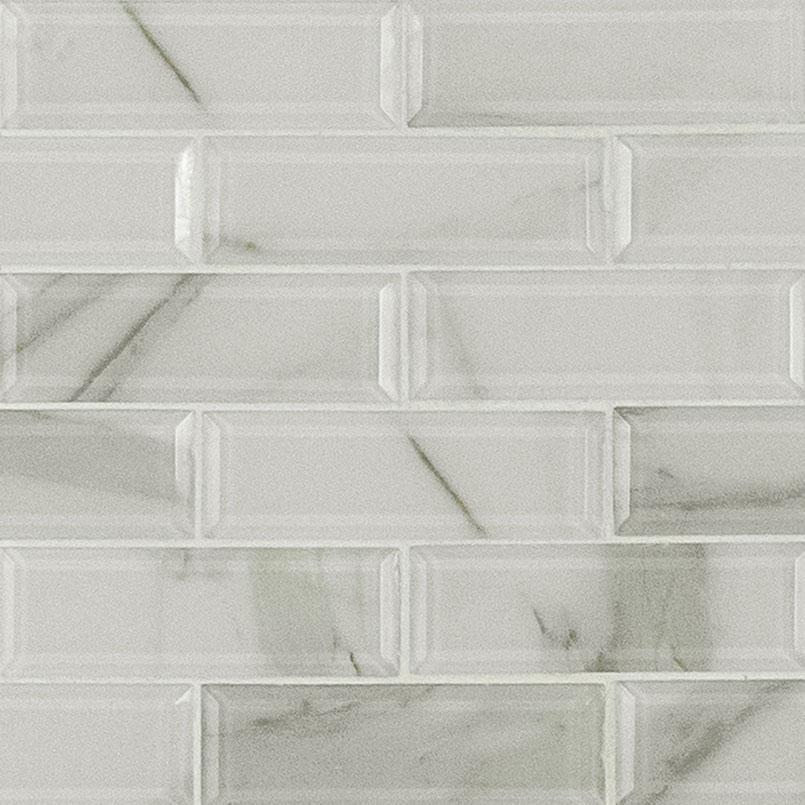 ivory amber beveled subway tile glass