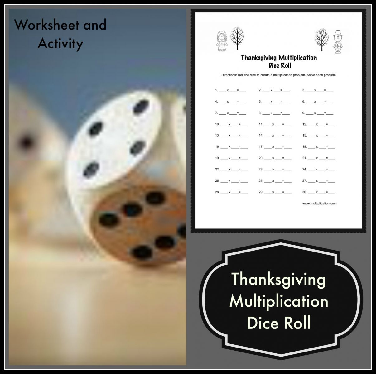 Thanksgiving Multiplication Dice Roll Worksheet