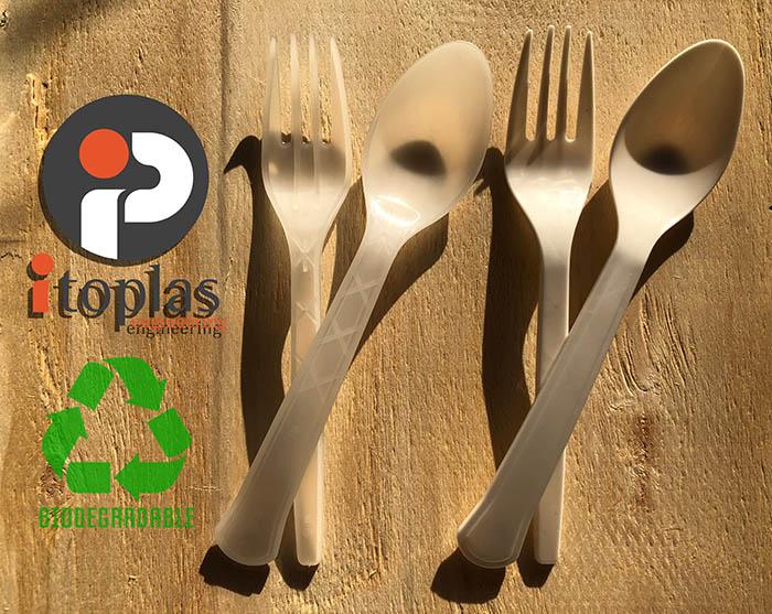 itoplas, inyección de plásticos, kit itosave, ahorro de energía, cubiertos biodegradables, bioplástico, inyección