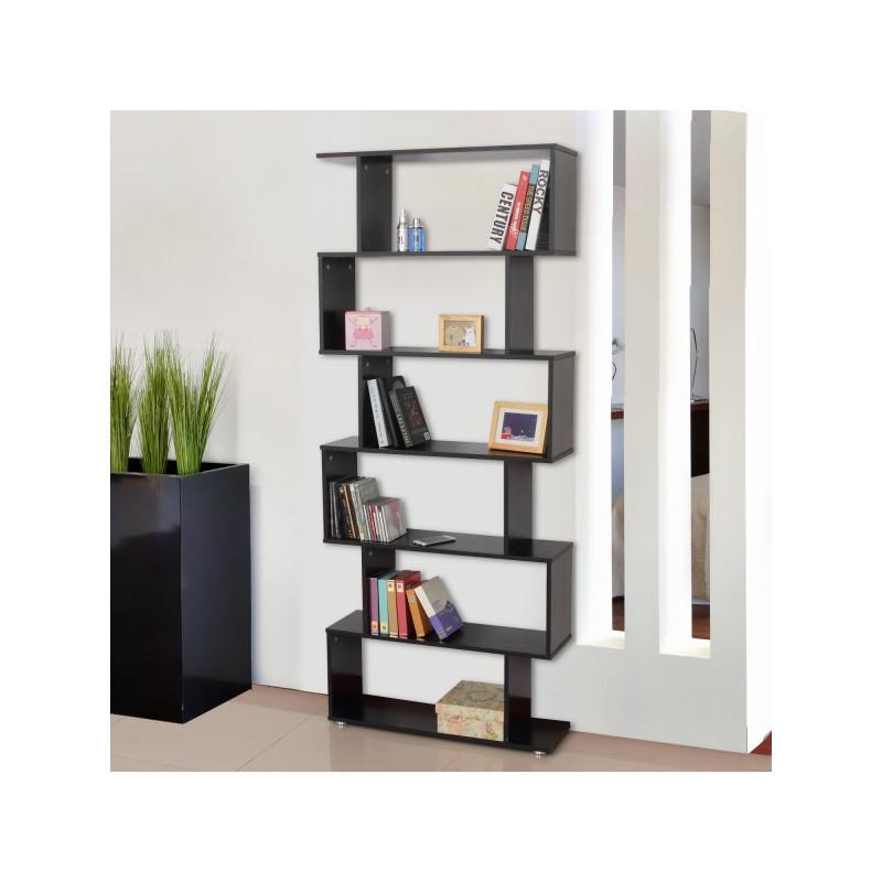bibliotheque etagere zig zag en bois noire
