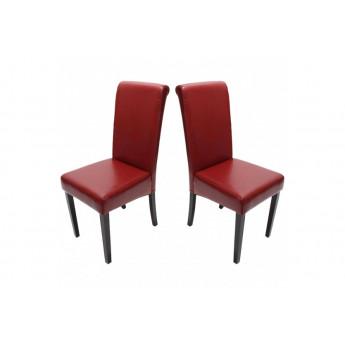 chaise de salle a manger lot de 2 florence cuir rouge myco00951