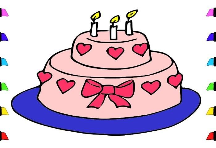 How To Draw A Birthday Cake Birthday Cake Easy Draw Tutorial