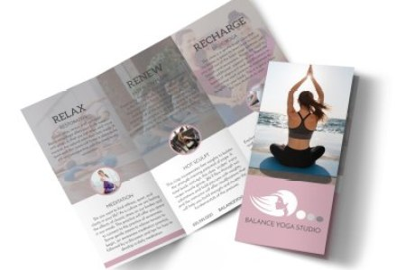 Design Custom Yoga Brochures Online   MyCreativeShop Yoga Class Details Tri Fold Brochure Template