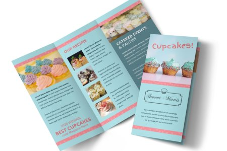 Cupcake Bakery Brochure Template   MyCreativeShop Cake Shop   Bakery Tri Fold Brochure Template